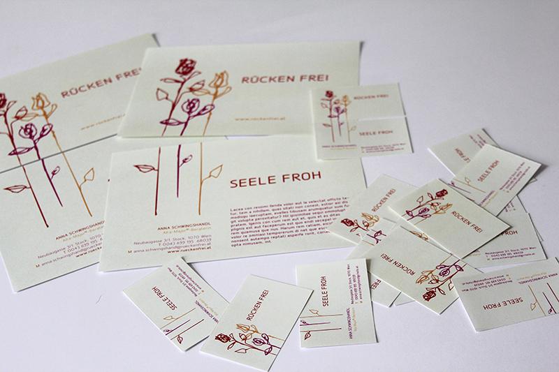 Schriftzug, Illustration, Visitenkarten und Flyer für Anna Schwingshandel, Alta-Major-Beraterin