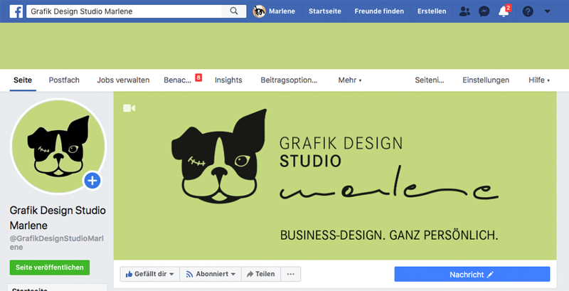 Social-Media-Branding: Ein Screenshot der Facebook Seite vom GRAFIK DESIGN STUDIO marlene