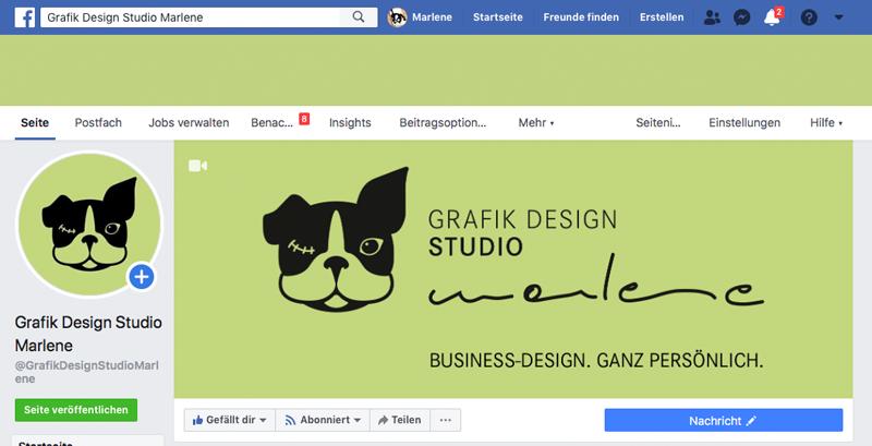 Social-Media-Branding: Ein Screenshot der Facebook Seite vom GRAFIK DESIGN STUDIO marlene