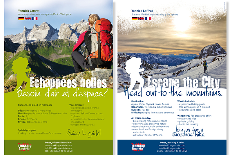 Flyer für mehrsprachigen Trekking Guide – Sommer und Winter