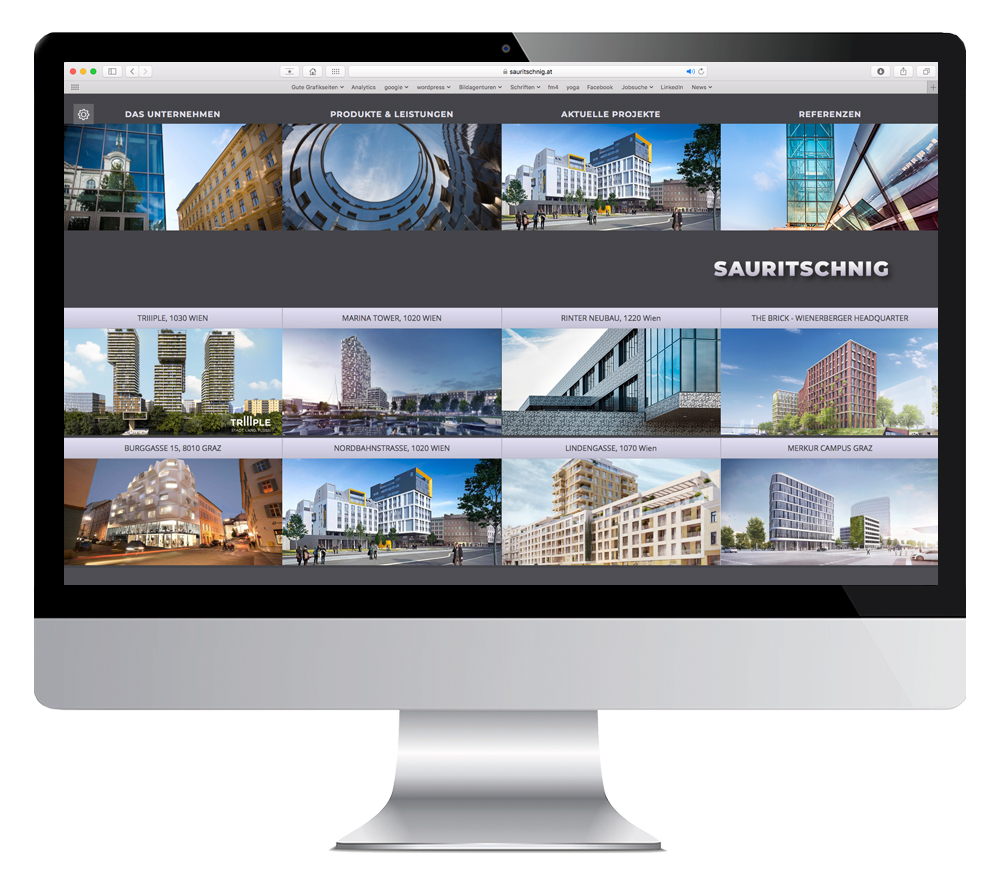 Bildschirmdarstellung der Website von Sauritschnig